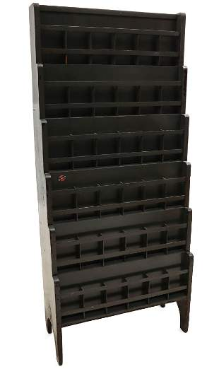 A SIX TIER FLOOR STANDING PAINTED WOOD TIMETABLE HOLDER
