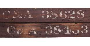 PAINTED WOOD CATTLE CAR SIGNS ATTR CHICAGO & ALTON RR