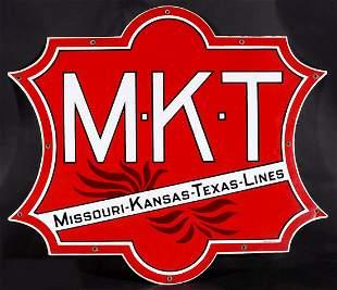 A FOUR-COLOR PORCELAIN ENAMEL SIGN FOR M-K-T RAILROAD