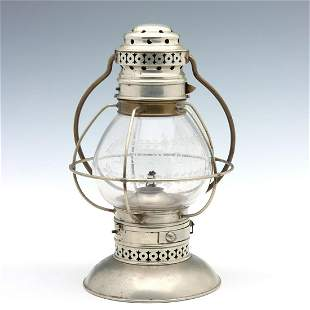 A KELLY PRESENTATION LANTERN AS IS WITH ENGRAVED GLOBE