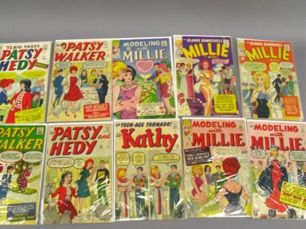 10 MARVEL 12 & 25 CENT GIRL COMICS, MILLIE, PATSY WALKE