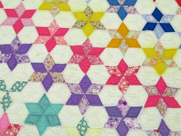 HAND STITCHED & QUILTED STAR OF DAVID QUILT