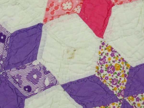 HAND STITCHED & QUILTED STAR OF DAVID QUILT - 8