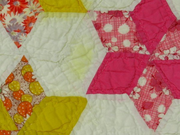 HAND STITCHED & QUILTED STAR OF DAVID QUILT - 9