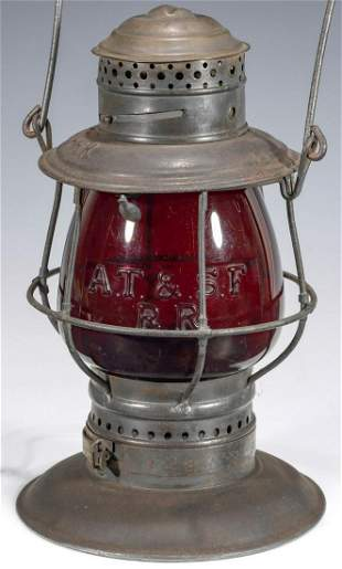 LANTERN W/RARE RED GLOBE CAST A. T. & . S . F OVER R.R.