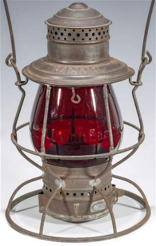 A RARE LANTERN WITH TALL RED GLOBE CAST Union Pacific