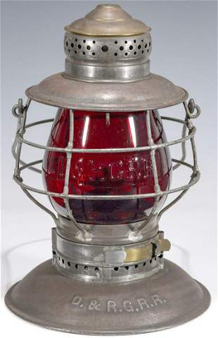 A RARE LANTERN WITH TALL RED GLOBE CAST D & R G RR