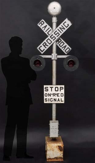 VINTAGE MINIATURE STEAM RAILROAD CROSSING SIGNAL