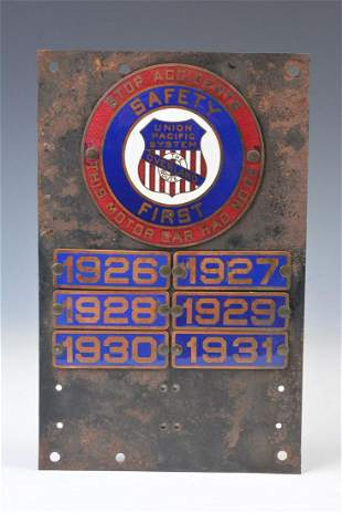 A UP RR OVERLAND ROUTE ENAMEL SAFETY PLAQUE C. 1914