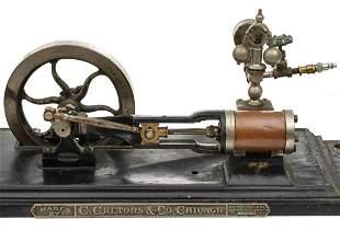 A CRETORS & CO HORIZONTAL STEAM ENGINE CIRCA 1895