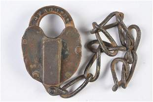 AN A.T.&S.F. RAILROAD PADLOCK MARKED 'SF ROUTE 5'