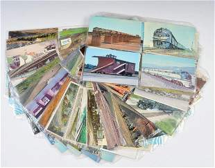 MORE THAN 200 RAILROAD POSTCARDS, MID TO LATE 20TH CENT