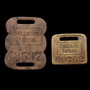 EARLY 20TH C. SANTA FE ROUTE BRASS BAGGAGE TAGS