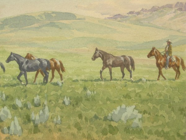 TOM PHILLIPS (1927-) WATERCOLOR WESTERN SCENE