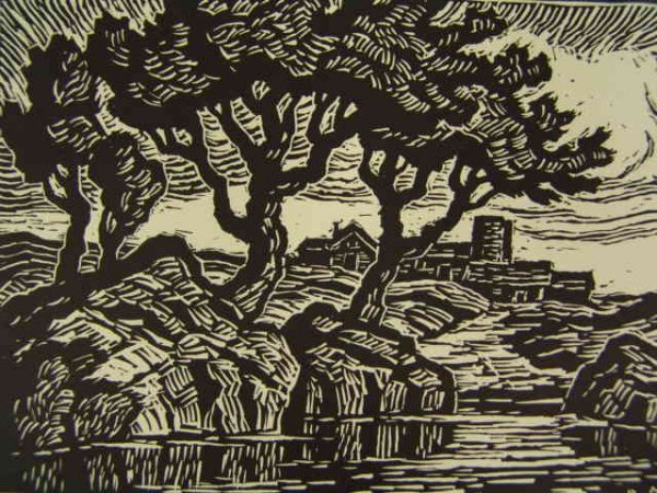 BIRGER SANDZEN (1871-1954) SIGNED LINOCUT PRINT