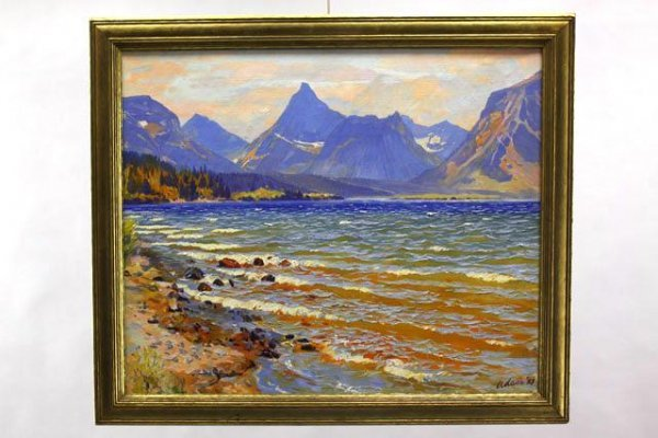 1927 MOUNTAIN LANDSCAPE OIL ON CANVAS SIGNED ADAM