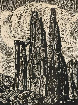 BIRGER SANDZEN (1871-1954) PENCIL SIGNED BLOCK PRINT