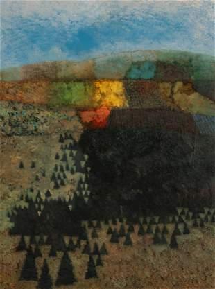 MARK ENGLISH (B. 1933) OIL ON ARTIST'S BOARD