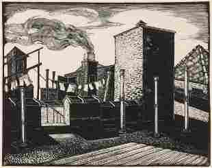 IRVING SAMUELS (1896-1981) PENCIL SIGNED WOOD ENGRAVING