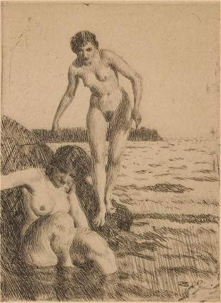 ANDERS ZORN (1860-1920) PENCIL SIGNED DRYPOINT ETCHING
