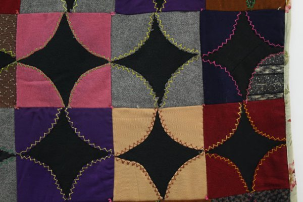 18: UNUSUAL WOOL CRAZY QUILT