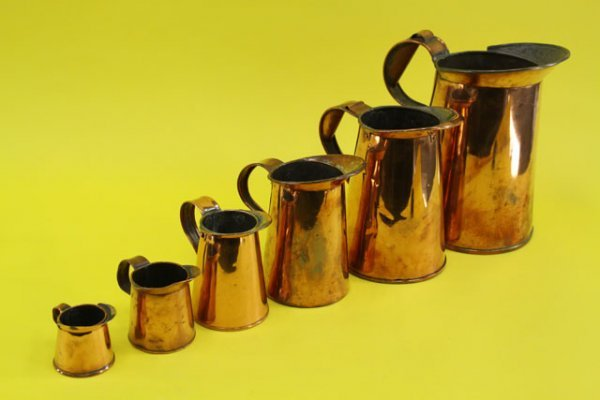 34: MID-19TH CENTURY SET OF SIX COPPER MEASURES