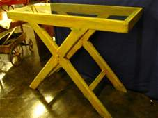 133: PRIMITIVE PINE SAWBUCK SERVER WITH OLD PAINT