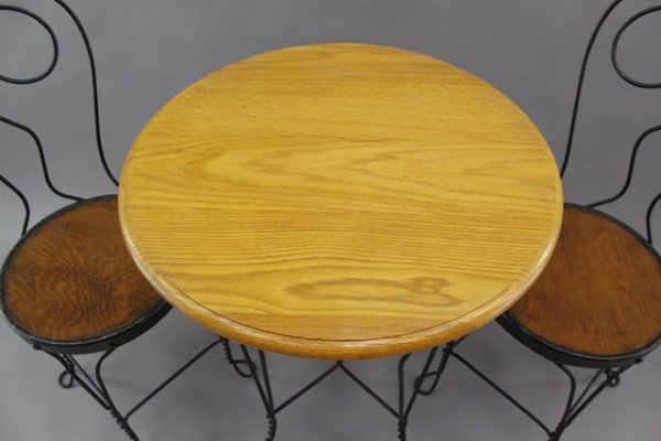 188A: EARLY 1900'S ICE CREAM PARLOR TABLE & CHAIR SET - 3