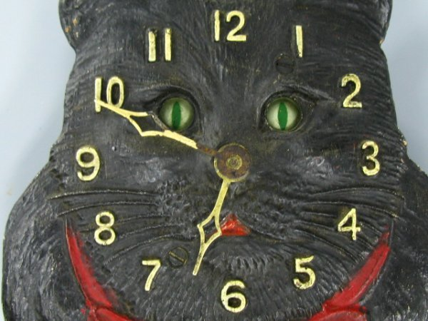 LUX ANIMATED WIG WAG BLACK CAT WALL CLOCK
