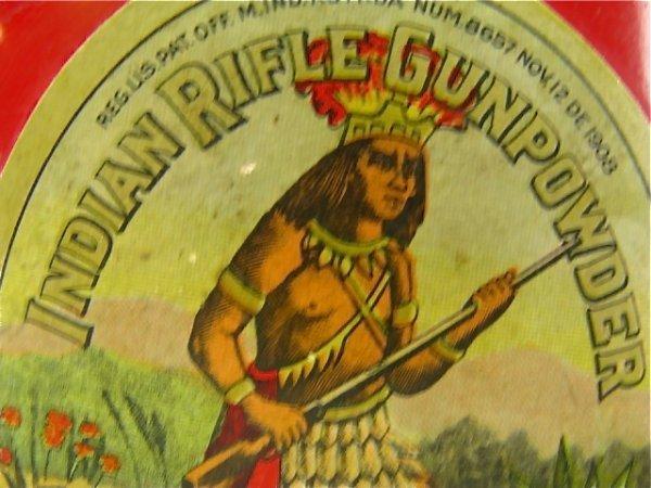 A GREAT DUPONT INDIAN RIFLE GUNPOWDER CAN