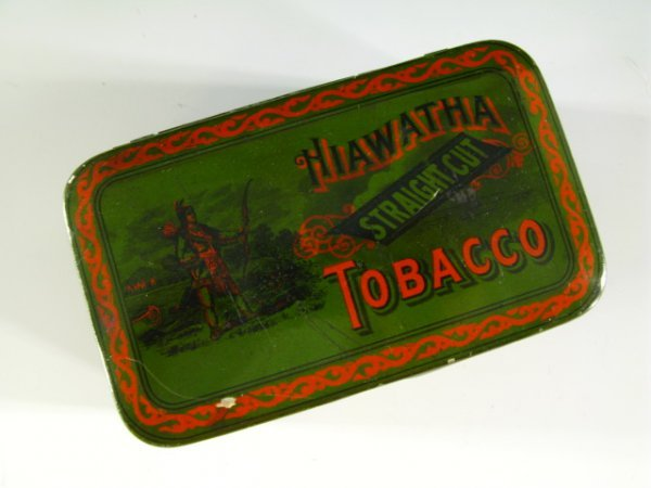 EARLY 20TH C HIAWATHA STRAIGHT CUT TOBACCO TIN