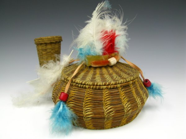 TWO PIECES OF AMERICAN INDIAN BASKETRY