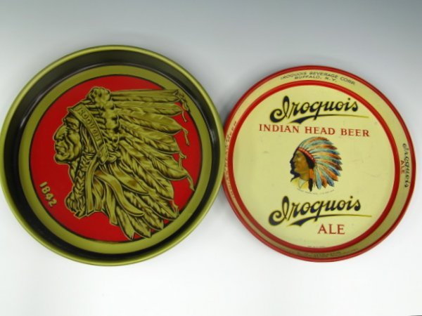 TWO IROQUOIS BEER & ALE SERVING TRAYS