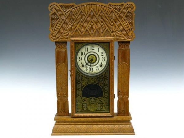 INGRAHAM FANCY OAK KITCHEN CLOCK