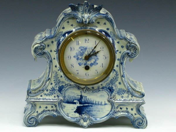 ROYAL BONN 'DELFT' CHINA CLOCK WITH FRENCH WORKS