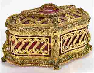 A MID 20TH C. BRASS CASKET WITH HAND ENGRAVED DETAIL