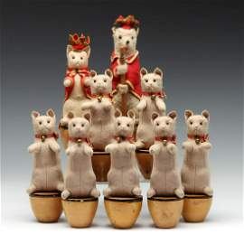 A STEIFF PRE-BUTTON ERA CAT & KITTENS SKITTLE SET