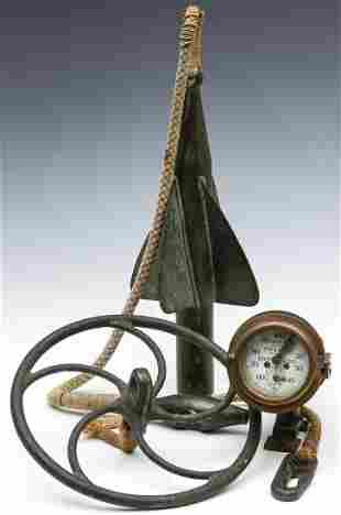 A 19TH CENTURY SHIP'S LOG APPARATUS WITH SPINNER