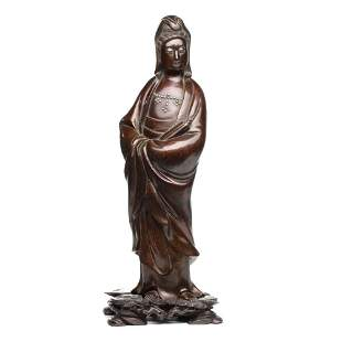 A 19th C. CHINESE QING DYNASTY SILVER INLAID GUANYIN