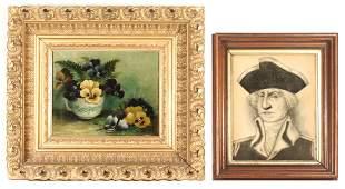 A 19TH C. FOLK ART STILL LIFE & PORTRAIT OF WASHINGTON