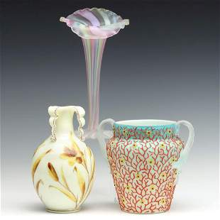 VICTORIAN ART GLASS INCL CORALENE, RAINBOW AND ENAMELED