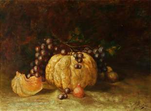 A 19TH C. STILL LIFE OIL ON CANVAS SIGNED 'OERTLEY'