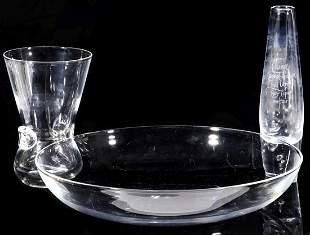 STEUBEN CRYSTAL ART GLASS BOWL AND VASE
