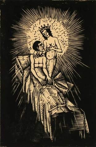 A PENCIL SIGNED GERMAN EXPRESSIONIST WOOD CUT, 1923