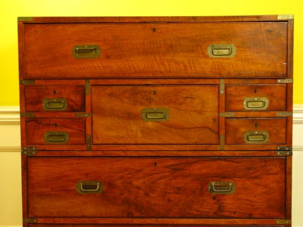 19th CENTURY ENGLISH CAMPAIGN CHEST ON LEGS