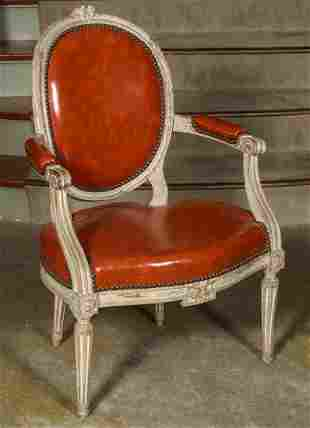 AN 18TH CENTURY FRENCH LOUIS XVI FAUTEUIL