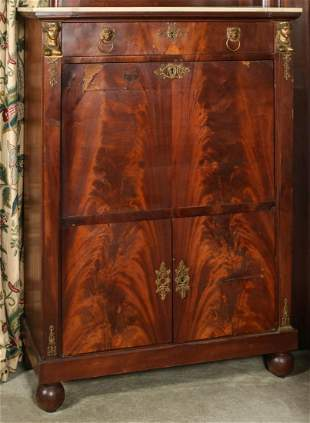 A 19TH CENTURY FRENCH FIRST EMPIRE SECRETAIRE ABATTANT