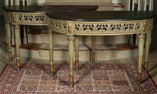 A PAIR OF EARLY 20TH C. PAINTED DEMILUNE CONSOLES
