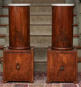 A PAIR EARLY 19TH C. FRENCH CIRCULAR BED SIDE CABINETS