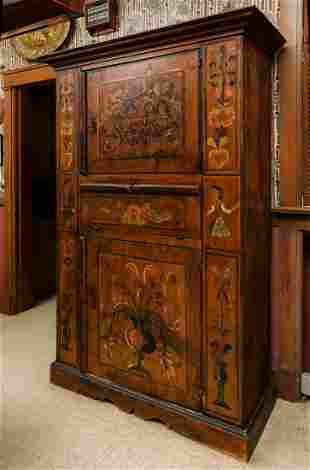 A 19TH CENTURY COUNTRY FRENCH PAINTED PINE CABINET
